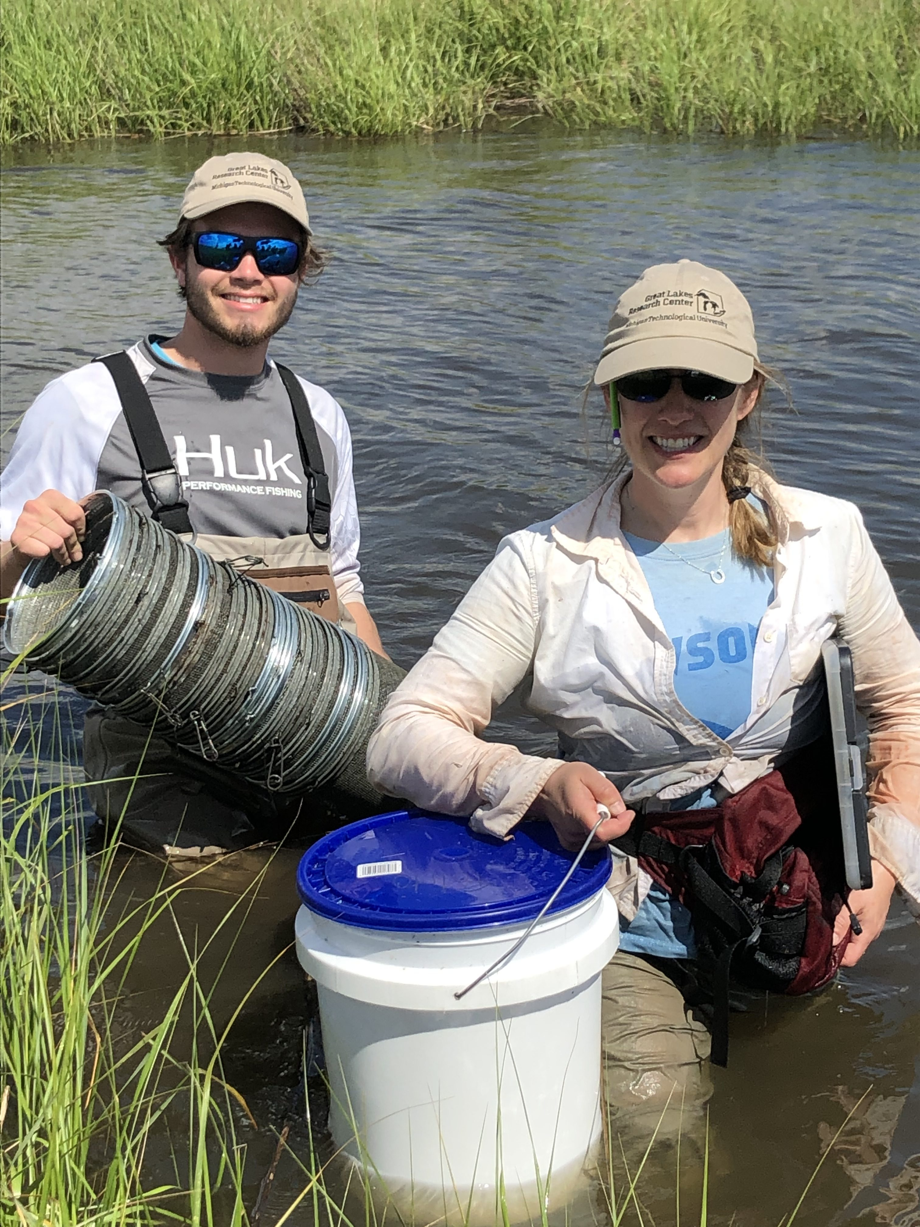 Jill and Hunter after sampling in LHB. Credit: Paola Lopez-Duarte, UNCC